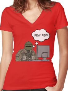 Pew Pew Women's Fitted V-Neck T-Shirt