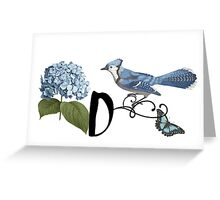 Bluebird Vintage Floral Initial D Greeting Card