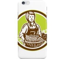 Organic Female Farmer Farm Produce Harvest Woodcut iPhone Case/Skin