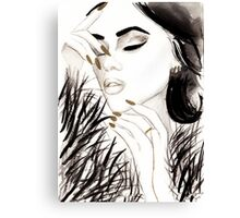 Dark Gloss Watercolour Illustration Canvas Print