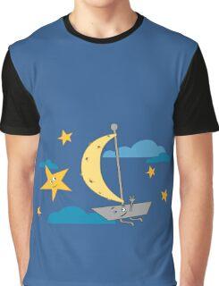 Moon ship sailing sky Graphic T-Shirt