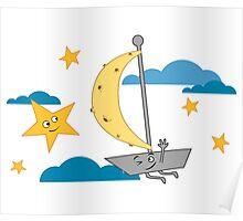 Moon ship sailing sky Poster