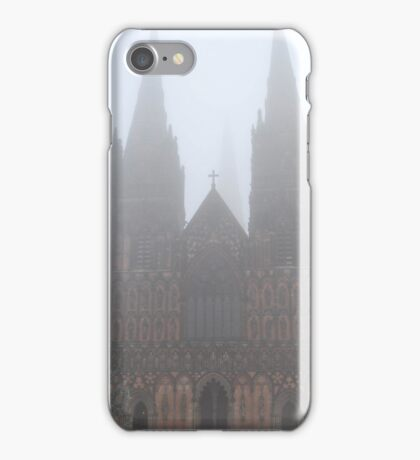 Misty morning Lichfield cathedral iPhone Case/Skin