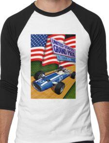 """UNITED STATES GRAND PRIX"" Vintage Auto Racing Print Men's Baseball ¾ T-Shirt"