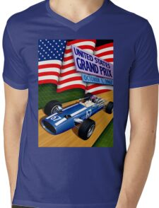 """UNITED STATES GRAND PRIX"" Vintage Auto Racing Print Mens V-Neck T-Shirt"