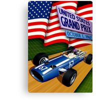 """UNITED STATES GRAND PRIX"" Vintage Auto Racing Print Canvas Print"