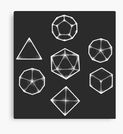 Dot Work Role Playing Dice - White  Canvas Print