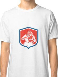 Sandblaster Sandblasting Hose Shield Woodcut Classic T-Shirt