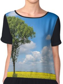 Green Tree In Yellow Rapeseed Flowers Field With Blue Sky Chiffon Top