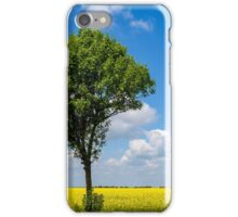 Green Tree In Yellow Rapeseed Flowers Field With Blue Sky iPhone Case/Skin