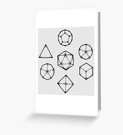 Dot Work Role Playing Dice - Black Greeting Card