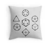 Dot Work Role Playing Dice - Black Throw Pillow