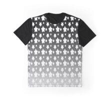 Metallic Silver Night Stars Gradient Pattern   Graphic T-Shirt