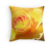 Yellow Rose Close Up, Yellow Petals close Up Fine Art Throw Pillow