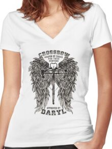 CROSSBOW APPROVED BY DARYL ! Women's Fitted V-Neck T-Shirt