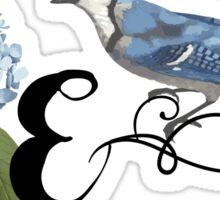 Bluebird Vintage Floral Initial E Sticker