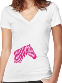 Zebra - Pink Women's Fitted V-Neck T-Shirt