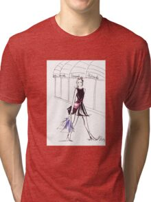Pink Bow Watercolour Illustration Tri-blend T-Shirt