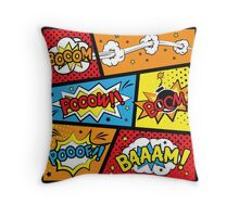 Super Heros, Cartoon Sound Effects Throw Pillow
