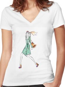 Seventies Style Watercolour Illustration Women's Fitted V-Neck T-Shirt