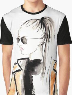 Top Ponytail Watercolour Illustration Graphic T-Shirt