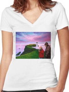 Lighthouse at Mykines Faroe Islands Painting Women's Fitted V-Neck T-Shirt