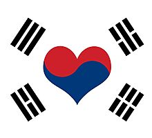 Korean Flag Heart Photographic Print