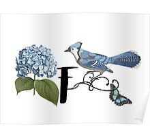 Bluebird Vintage Floral Initial F Poster
