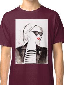 Parisian Stripes Watercolour Illustration Classic T-Shirt