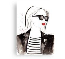Parisian Stripes Watercolour Illustration Canvas Print