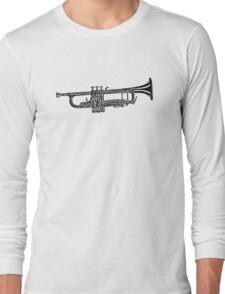 Happy jazz trumpet sketch Long Sleeve T-Shirt