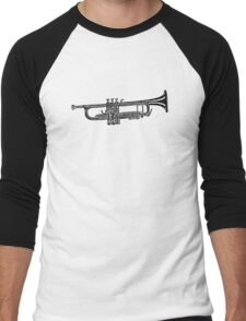 Happy jazz trumpet sketch Men's Baseball ¾ T-Shirt