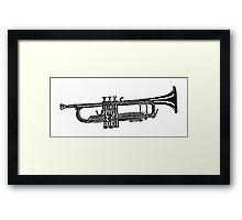 Happy jazz trumpet sketch Framed Print