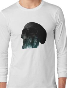 Skull Creepy Forest Double Exposure Scary Long Sleeve T-Shirt