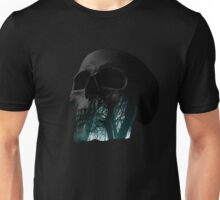 Skull Creepy Forest Double Exposure Scary Unisex T-Shirt