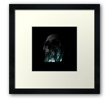 Skull Creepy Forest Double Exposure Scary Framed Print