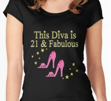PRETTY PINK 21ST BIRTHDAY SHOE QUEEN Women's Fitted Scoop T-Shirt