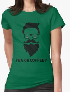 #2 TEA OR COFFEE (RETRO) Womens Fitted T-Shirt