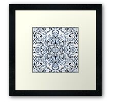 Indigo, Navy Blue and White Calligraphy Doodle Pattern Framed Print
