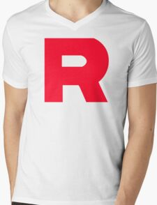 Team Rocket T-Shirt Without Quote Black and White  Mens V-Neck T-Shirt