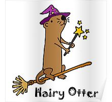 Funny Funky Hairy Otter Magical Wizard Poster