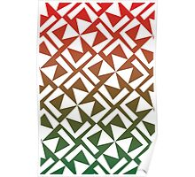 Red and Green Geometric Pattern Poster