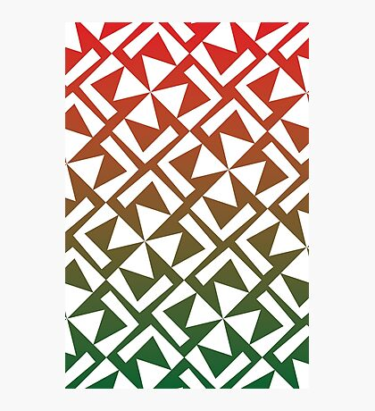 Red and Green Geometric Pattern Photographic Print