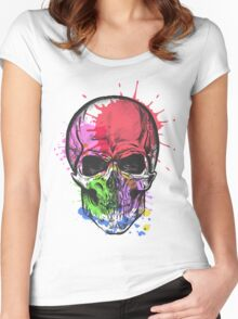 Watercolor skull. Women's Fitted Scoop T-Shirt