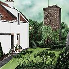 """Dysart in Fife, Scotland: The """"Hie Gait"""" and """"St Serf's Tower"""" [Colour] by Grant Wilson"""