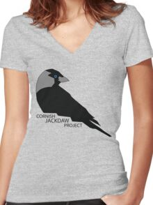 Cornish Jackdaw Project - logo Women's Fitted V-Neck T-Shirt