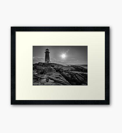 B&W of Iconic Lighthouse at Peggys Cove, Nova Scotia Framed Print
