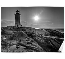 B&W of Iconic Lighthouse at Peggys Cove, Nova Scotia Poster