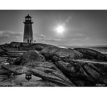B&W of Iconic Lighthouse at Peggys Cove, Nova Scotia Photographic Print
