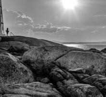 B&W of Iconic Lighthouse at Peggys Cove, Nova Scotia Sticker